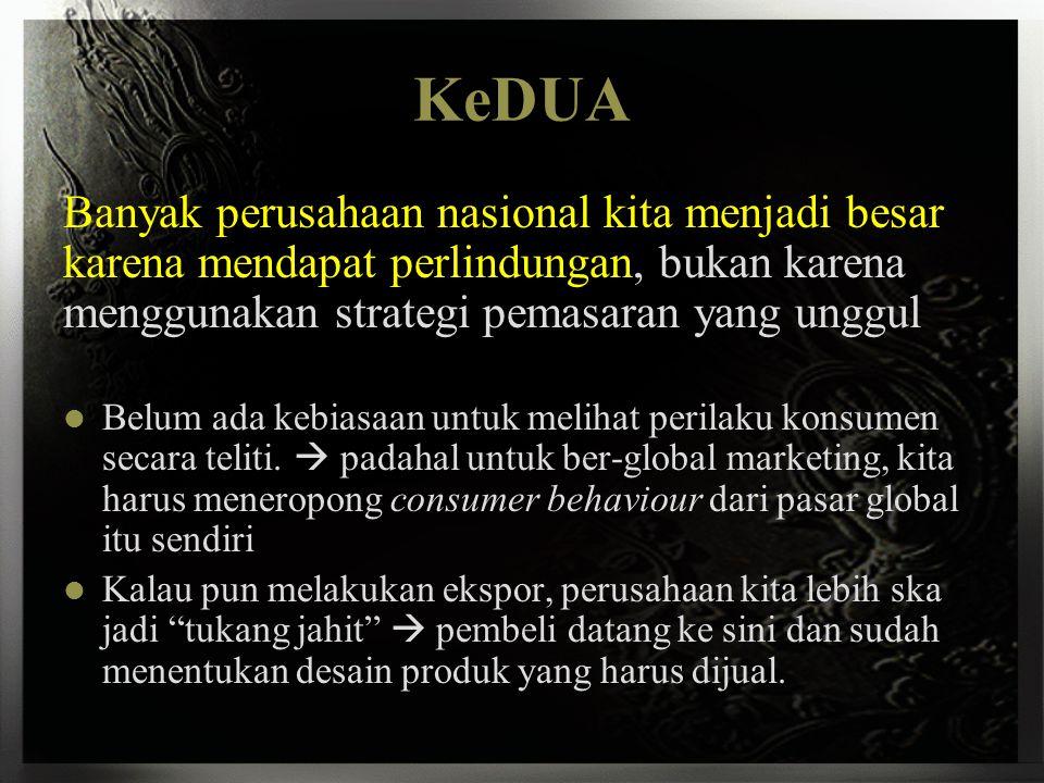 KeTIGA Pada saat ini kita sibuk mempertahankan diri dari serangan perusahaan global bahkan transnasional yang sedang menyerbu pasar Indonesia yang mulai terbuka.