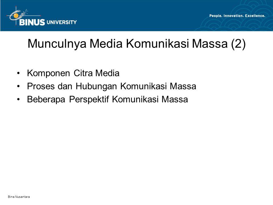 Bina Nusantara Komponen Citra Media Beberapa hal yang menyangkut komponen citra media adalah: (1) Dimensi Politik (2) Dimensi Normatif (3) Komponen Organisasi dan Komponen Teknologi (4) Dimensi distribusi, penerimaan dan pemakaian (5) Dimensi yang menyangkut pengirim dan Penerima (6) Ringkasan