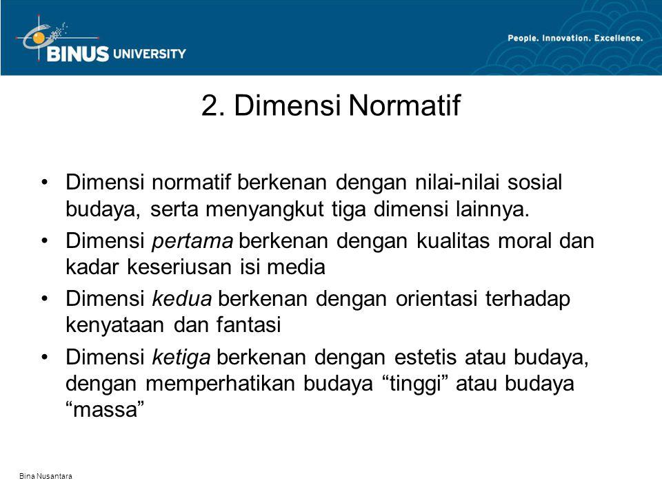 Bina Nusantara 2. Dimensi Normatif Dimensi normatif berkenan dengan nilai-nilai sosial budaya, serta menyangkut tiga dimensi lainnya. Dimensi pertama