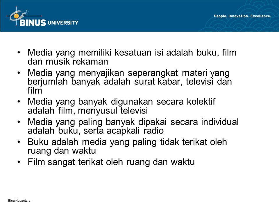 Bina Nusantara Media yang memiliki kesatuan isi adalah buku, film dan musik rekaman Media yang menyajikan seperangkat materi yang berjumlah banyak ada