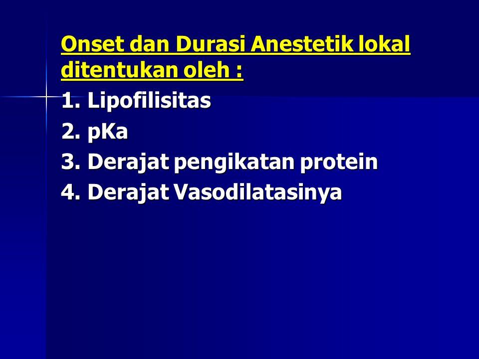 Onset dan Durasi Anestetik lokal ditentukan oleh : 1. Lipofilisitas 2. pKa 3. Derajat pengikatan protein 4. Derajat Vasodilatasinya