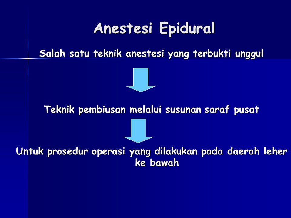 Anestesi Epidural Salah satu teknik anestesi yang terbukti unggul Teknik pembiusan melalui susunan saraf pusat Untuk prosedur operasi yang dilakukan p