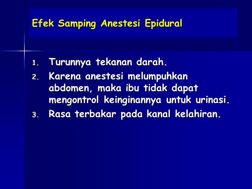 Efek Samping Anestesi Epidural 1.Turunnya tekanan darah.