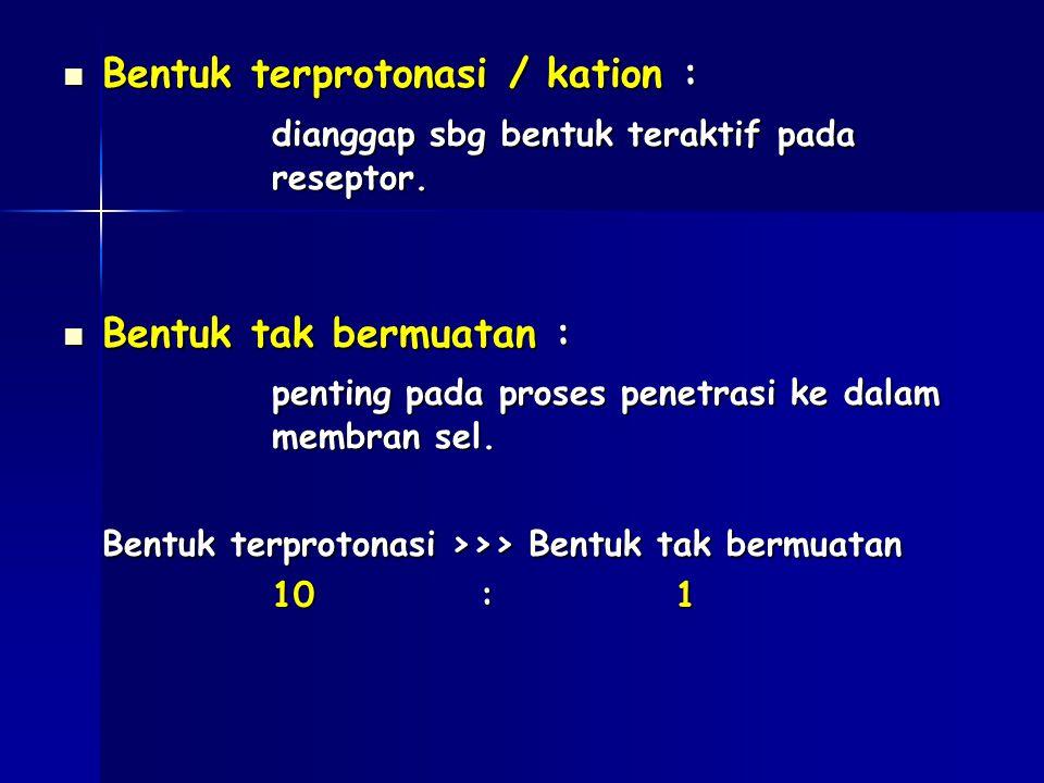 Bentuk terprotonasi / kation : Bentuk terprotonasi / kation : dianggap sbg bentuk teraktif pada reseptor. Bentuk tak bermuatan : Bentuk tak bermuatan
