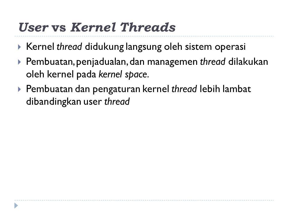 User vs Kernel Threads  Kernel thread didukung langsung oleh sistem operasi  Pembuatan, penjadualan, dan managemen thread dilakukan oleh kernel pada