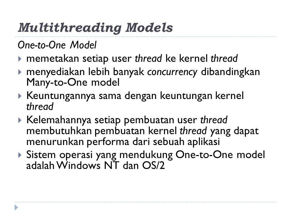 One-to-One Model  memetakan setiap user thread ke kernel thread  menyediakan lebih banyak concurrency dibandingkan Many-to-One model  Keuntungannya