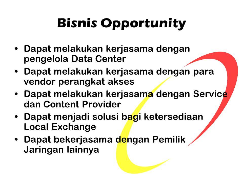 Bisnis Opportunity Dapat melakukan kerjasama dengan pengelola Data Center Dapat melakukan kerjasama dengan para vendor perangkat akses Dapat melakukan