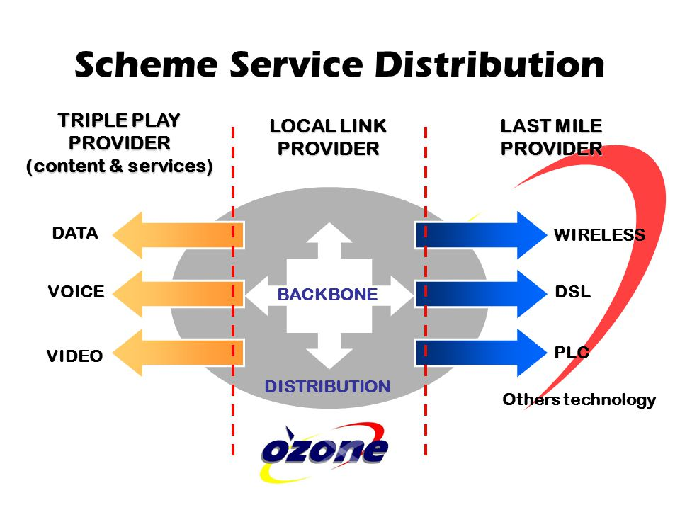 Scheme Service Distribution TRIPLE PLAY PROVIDER (content & services) DATA VOICE VIDEO LOCAL LINK PROVIDER WIRELESS DSL PLC LAST MILE PROVIDER BACKBONE DISTRIBUTION Others technology