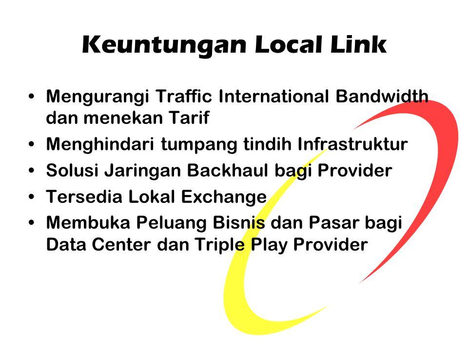 Keuntungan Local Link Mengurangi Traffic International Bandwidth dan menekan Tarif Menghindari tumpang tindih Infrastruktur Solusi Jaringan Backhaul b