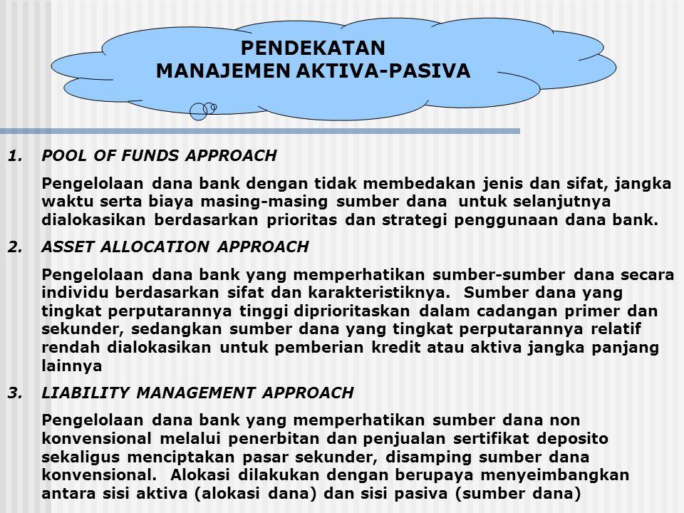 PENDEKATAN MANAJEMEN AKTIVA-PASIVA 1.POOL OF FUNDS APPROACH Pengelolaan dana bank dengan tidak membedakan jenis dan sifat, jangka waktu serta biaya ma