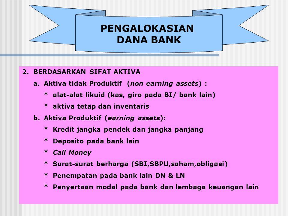 PENGALOKASIAN DANA BANK 2.BERDASARKAN SIFAT AKTIVA a. Aktiva tidak Produktif (non earning assets) : * alat-alat likuid (kas, giro pada BI/ bank lain)