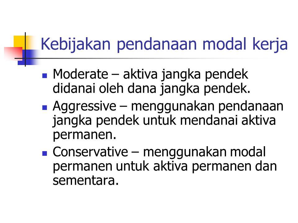 Kebijakan pendanaan modal kerja Moderate – aktiva jangka pendek didanai oleh dana jangka pendek. Aggressive – menggunakan pendanaan jangka pendek untu