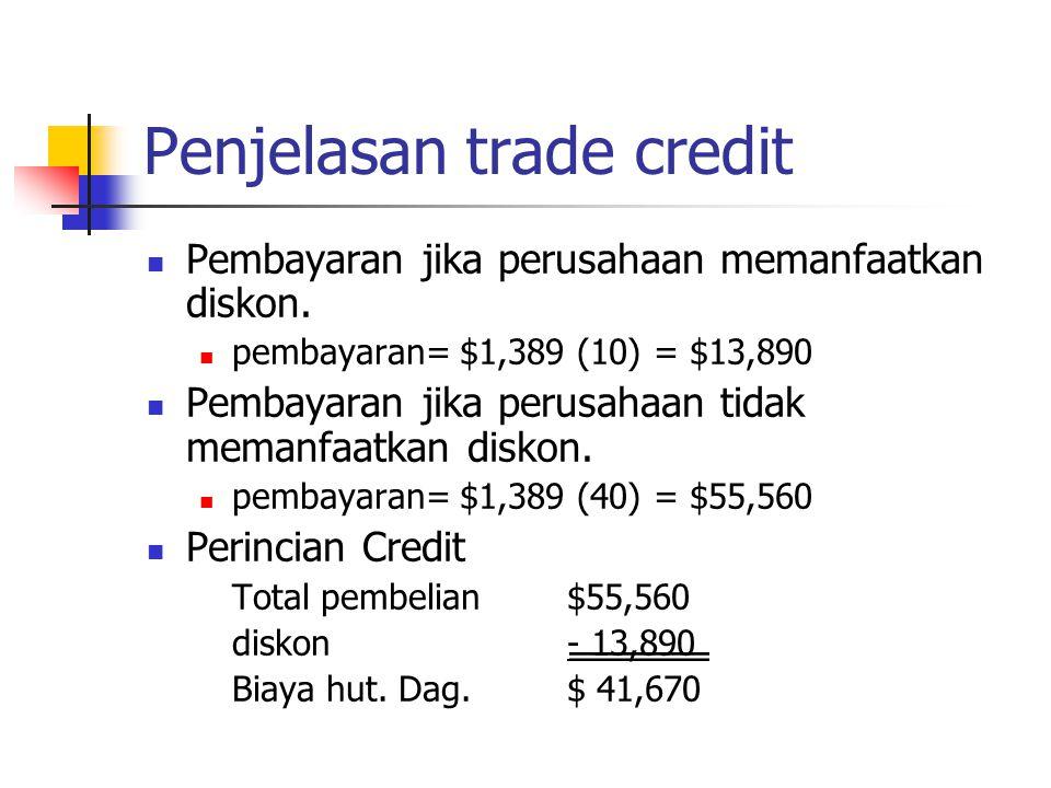 Penjelasan trade credit Pembayaran jika perusahaan memanfaatkan diskon. pembayaran= $1,389 (10) = $13,890 Pembayaran jika perusahaan tidak memanfaatka