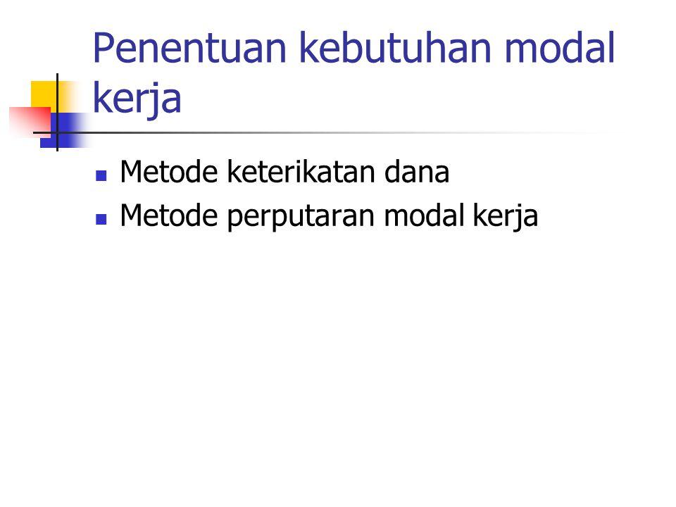 Penentuan kebutuhan modal kerja Metode keterikatan dana Metode perputaran modal kerja