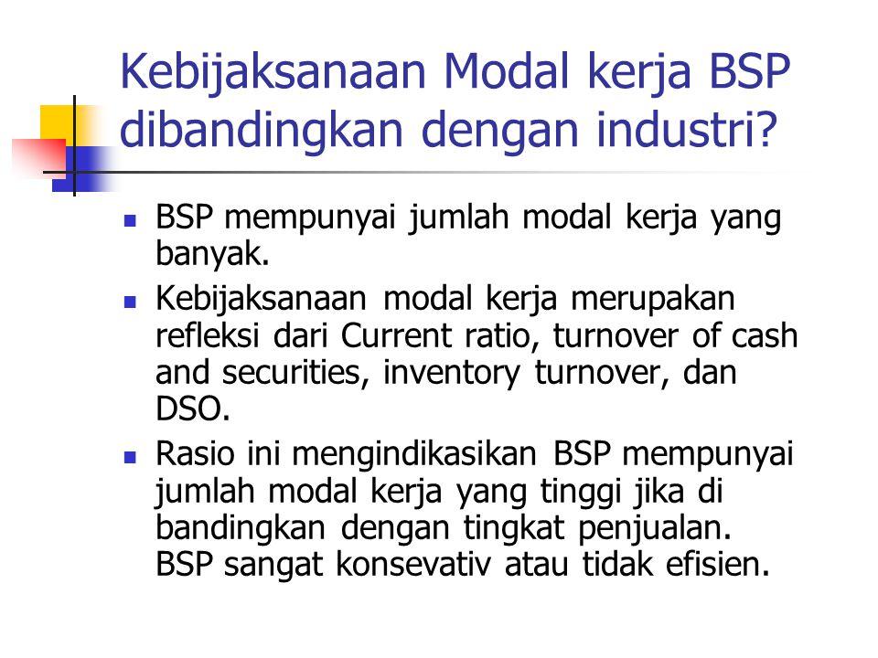 Kebijaksanaan Modal kerja BSP dibandingkan dengan industri? BSP mempunyai jumlah modal kerja yang banyak. Kebijaksanaan modal kerja merupakan refleksi