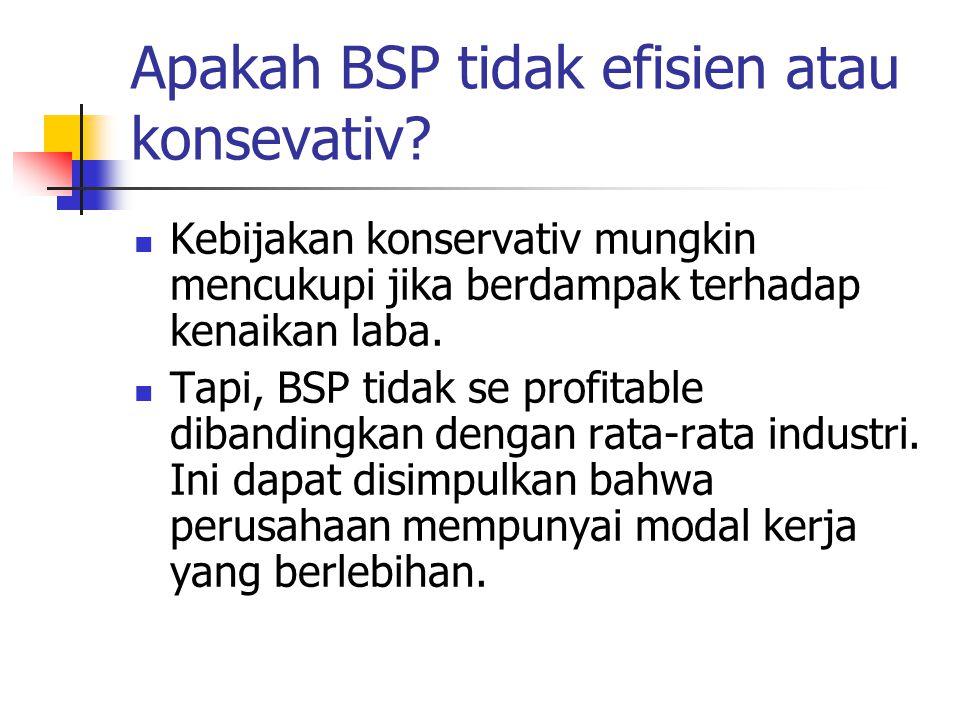 Apakah BSP tidak efisien atau konsevativ? Kebijakan konservativ mungkin mencukupi jika berdampak terhadap kenaikan laba. Tapi, BSP tidak se profitable