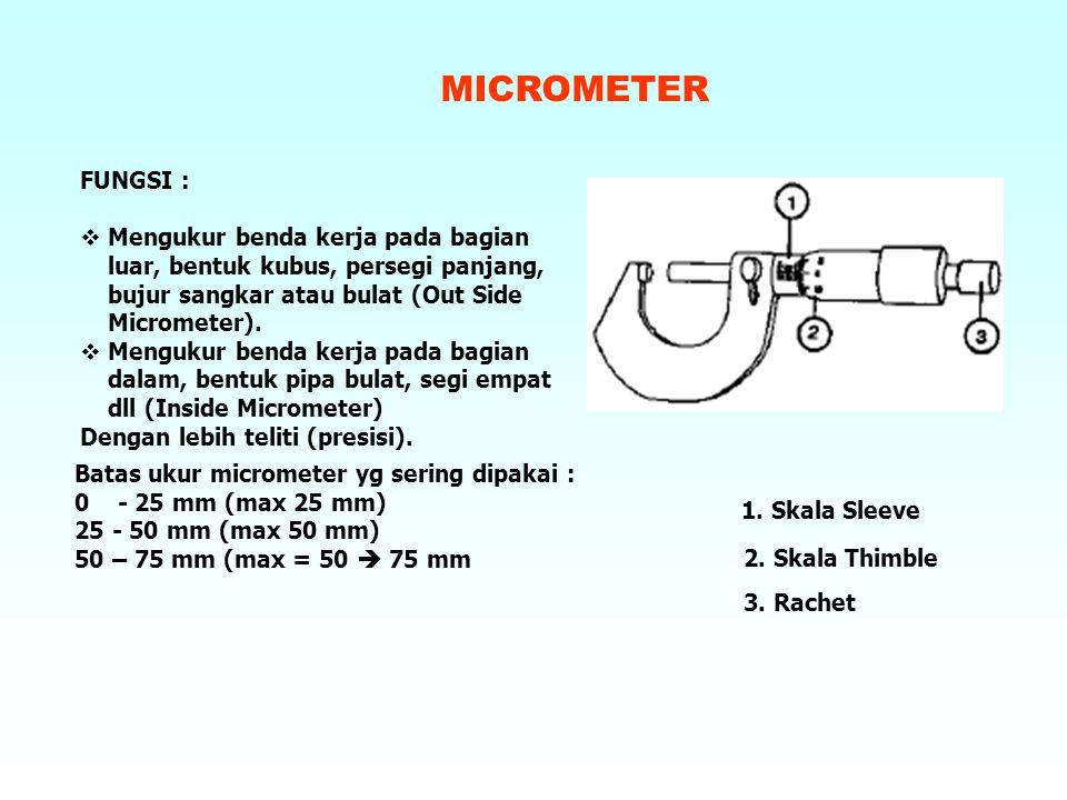 MICROMETER FUNGSI :  Mengukur benda kerja pada bagian luar, bentuk kubus, persegi panjang, bujur sangkar atau bulat (Out Side Micrometer).