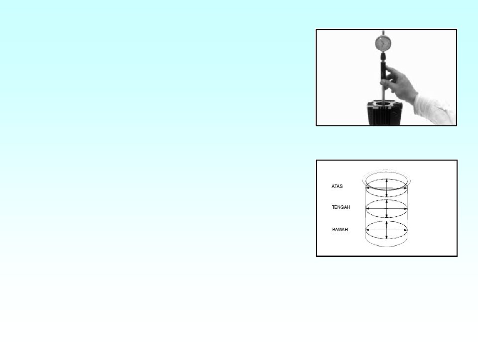 Jarum bergerak ke kanan, apabila permukaan cembung atau diameter besar. Jarum bergerak ke kiri, apabila permukaan cekung atau diameter kecil (aus).