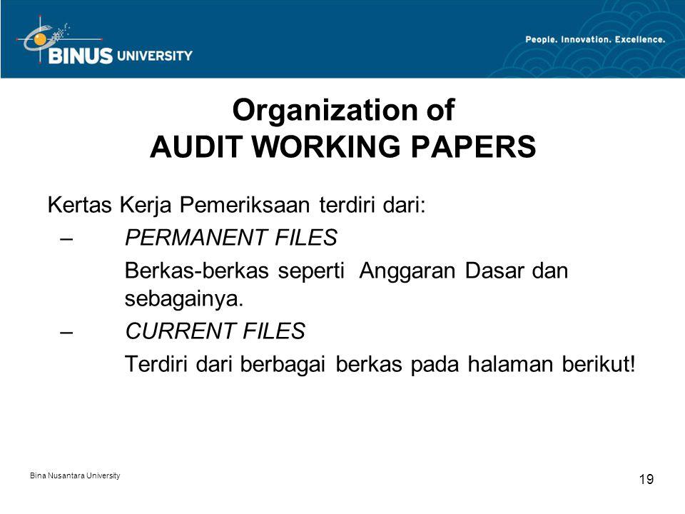 Bina Nusantara University 19 Organization of AUDIT WORKING PAPERS Kertas Kerja Pemeriksaan terdiri dari: –PERMANENT FILES Berkas-berkas seperti Anggaran Dasar dan sebagainya.