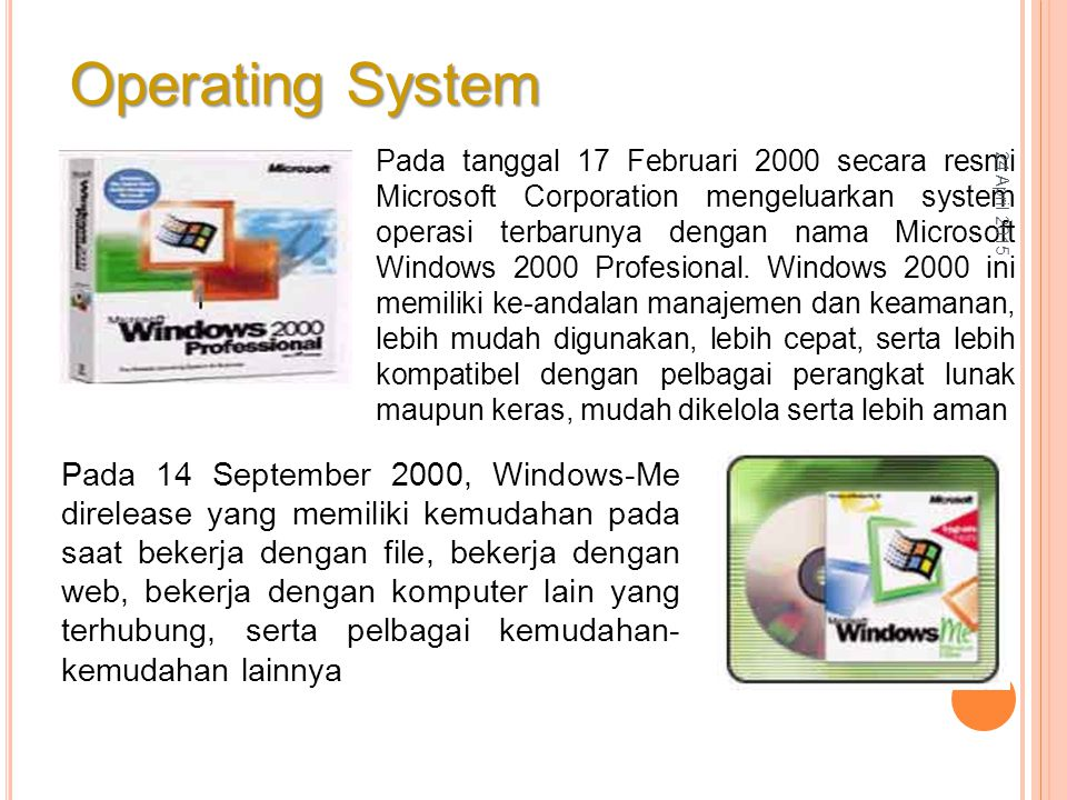 Pada tanggal 17 Februari 2000 secara resmi Microsoft Corporation mengeluarkan system operasi terbarunya dengan nama Microsoft Windows 2000 Profesional.