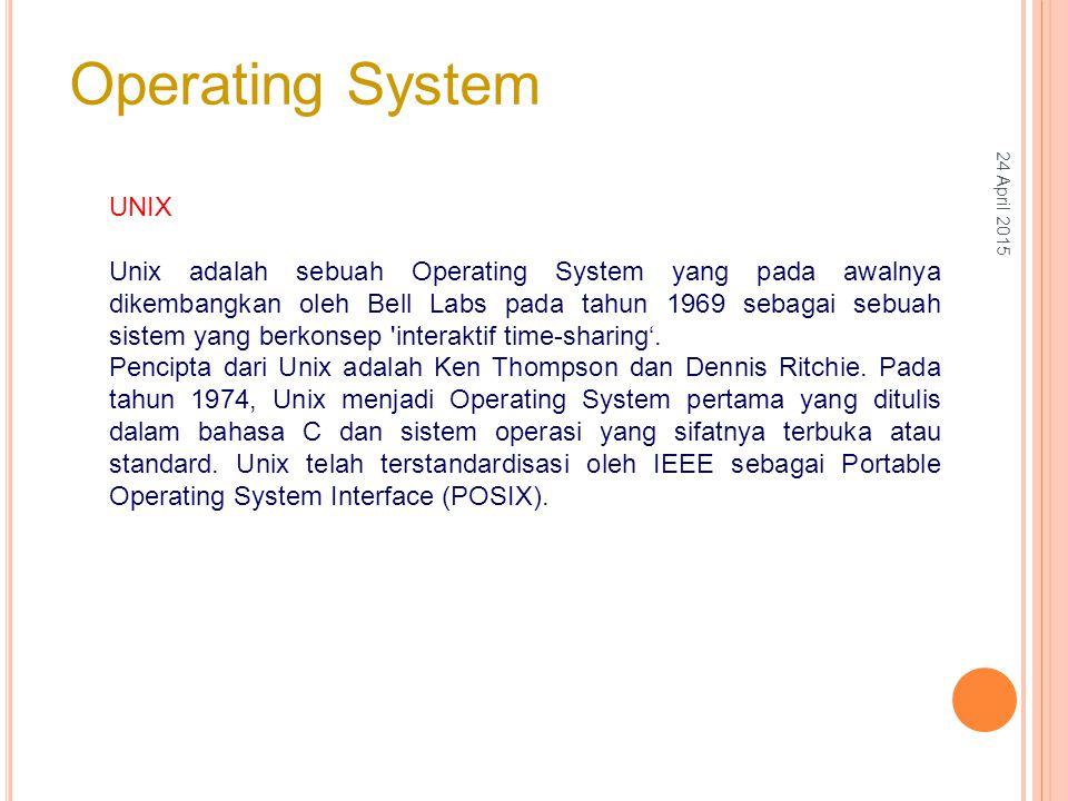 UNIX Unix adalah sebuah Operating System yang pada awalnya dikembangkan oleh Bell Labs pada tahun 1969 sebagai sebuah sistem yang berkonsep interaktif time-sharing'.