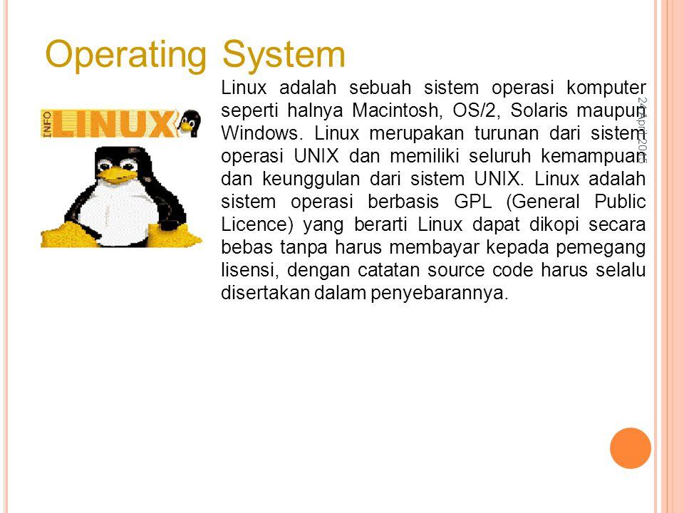 Linux adalah sebuah sistem operasi komputer seperti halnya Macintosh, OS/2, Solaris maupun Windows.