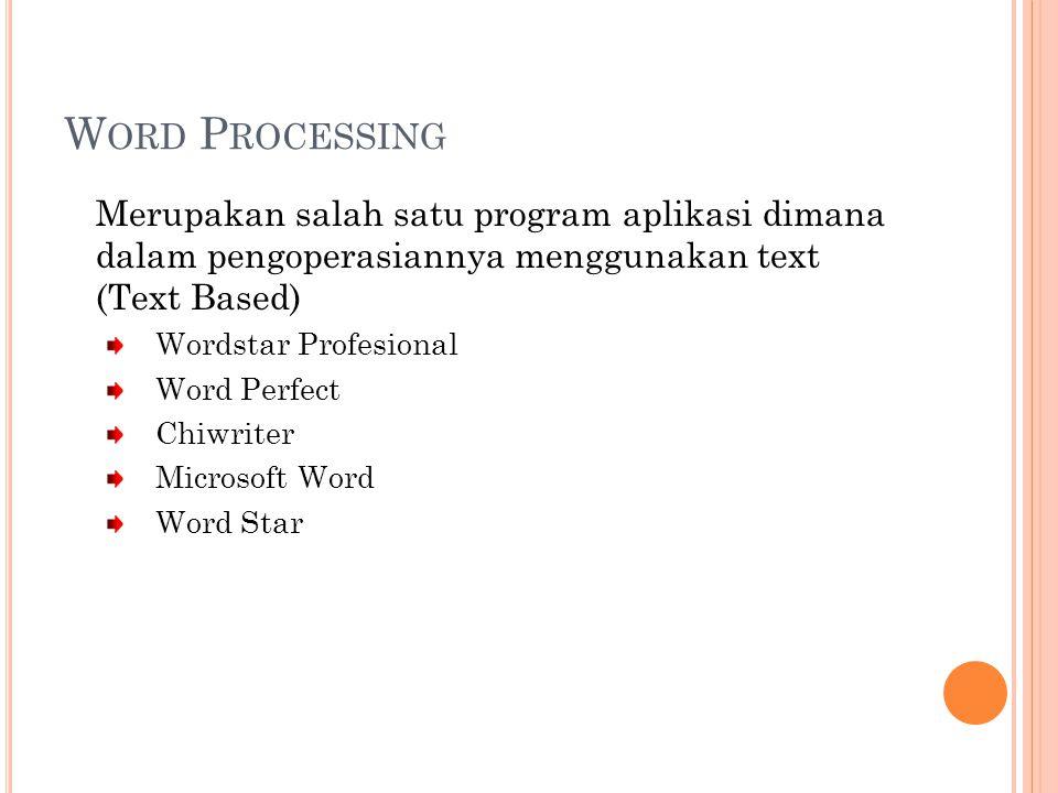W ORD P ROCESSING Merupakan salah satu program aplikasi dimana dalam pengoperasiannya menggunakan text (Text Based) Wordstar Profesional Word Perfect Chiwriter Microsoft Word Word Star