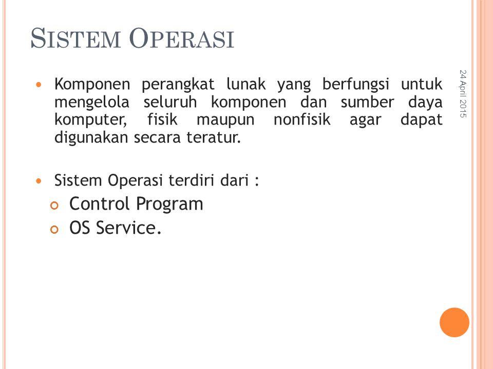 S ISTEM O PERASI Komponen perangkat lunak yang berfungsi untuk mengelola seluruh komponen dan sumber daya komputer, fisik maupun nonfisik agar dapat digunakan secara teratur.