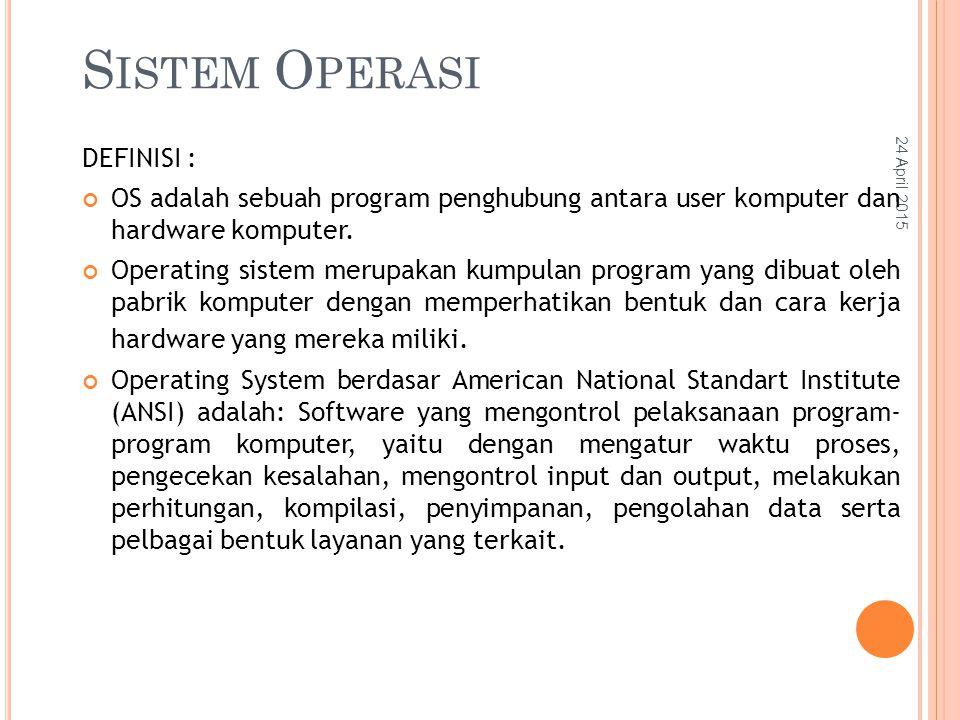24 April 2015 S ISTEM O PERASI DEFINISI : OS adalah sebuah program penghubung antara user komputer dan hardware komputer.