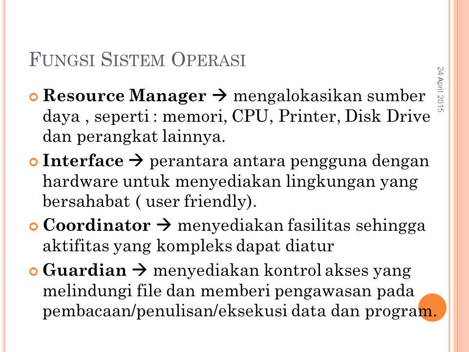F UNGSI S ISTEM O PERASI Resource Manager  mengalokasikan sumber daya, seperti : memori, CPU, Printer, Disk Drive dan perangkat lainnya.