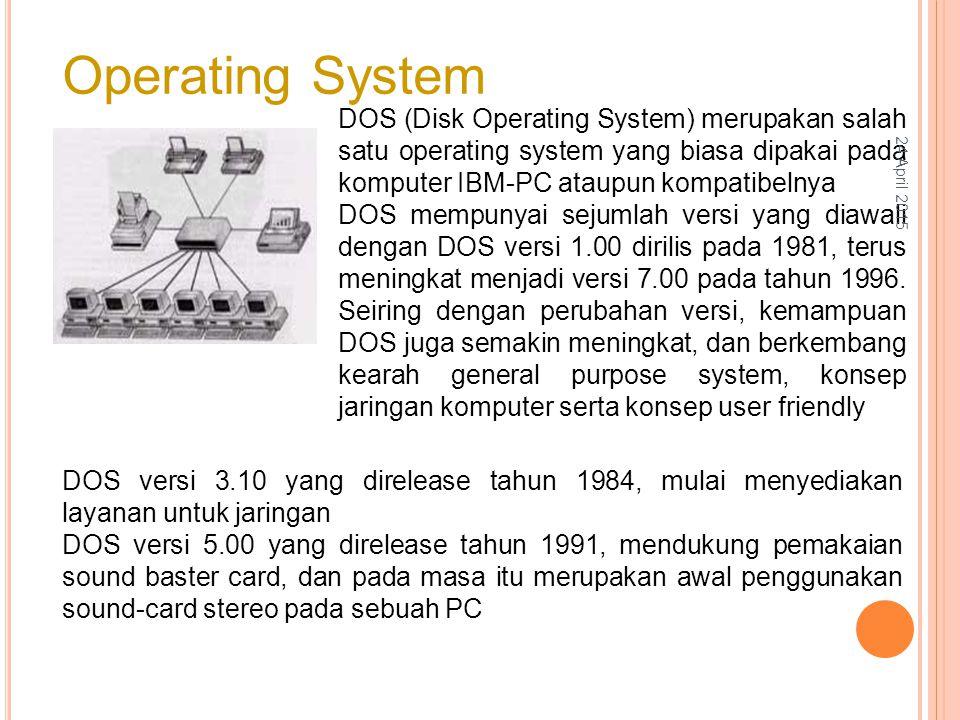 Operating System DOS (Disk Operating System) merupakan salah satu operating system yang biasa dipakai pada komputer IBM-PC ataupun kompatibelnya DOS mempunyai sejumlah versi yang diawali dengan DOS versi 1.00 dirilis pada 1981, terus meningkat menjadi versi 7.00 pada tahun 1996.