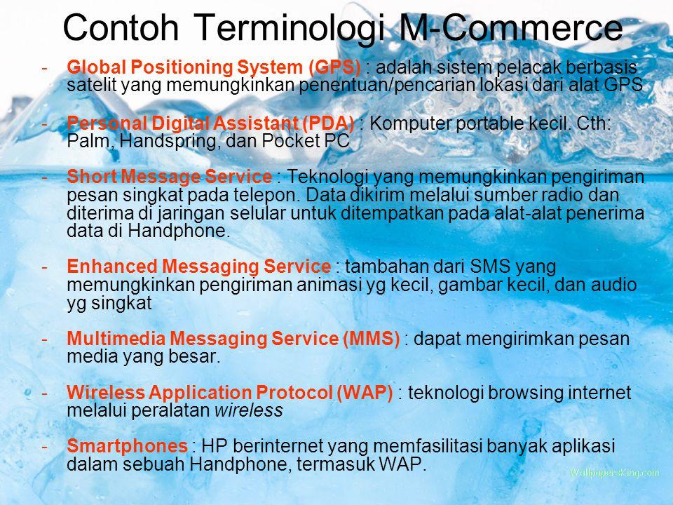 Contoh Terminologi M-Commerce -Global Positioning System (GPS) : adalah sistem pelacak berbasis satelit yang memungkinkan penentuan/pencarian lokasi d