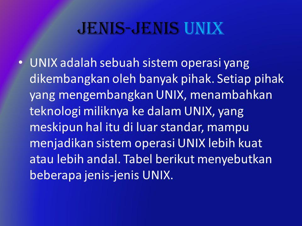 JENIS-JENIS UNIX UNIX adalah sebuah sistem operasi yang dikembangkan oleh banyak pihak.