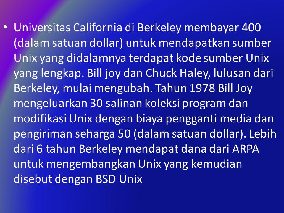 Universitas California di Berkeley membayar 400 (dalam satuan dollar) untuk mendapatkan sumber Unix yang didalamnya terdapat kode sumber Unix yang lengkap.