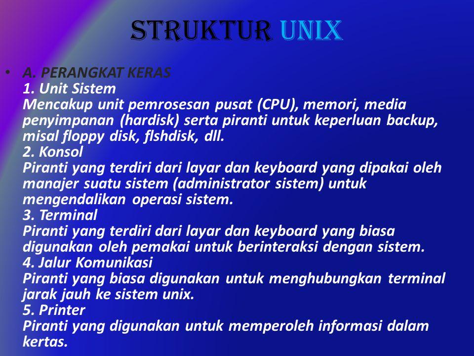 STRUKTUR UNIX A. PERANGKAT KERAS 1.