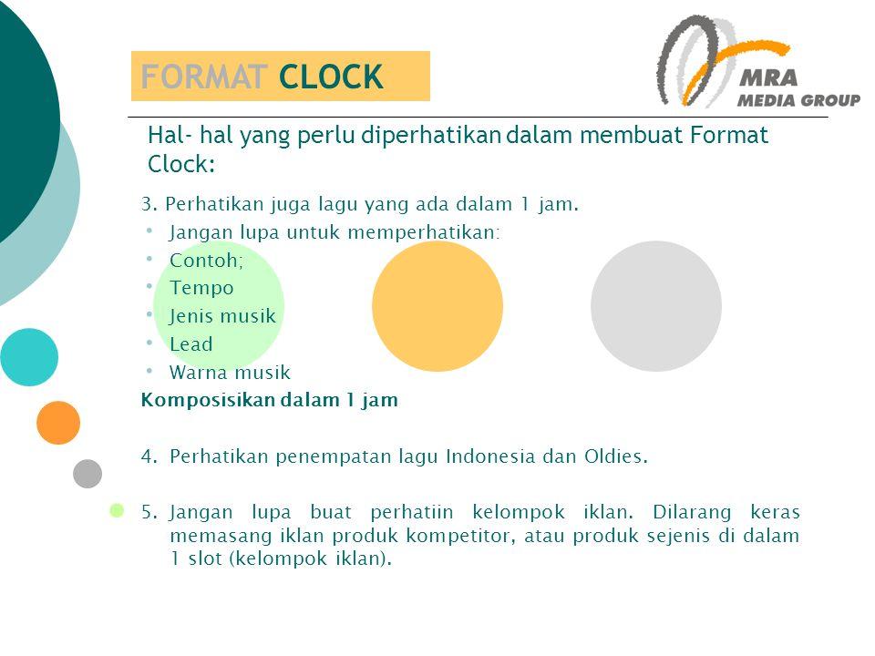 Hal- hal yang perlu diperhatikan dalam membuat Format Clock: 3. Perhatikan juga lagu yang ada dalam 1 jam. Jangan lupa untuk memperhatikan: Contoh; Te