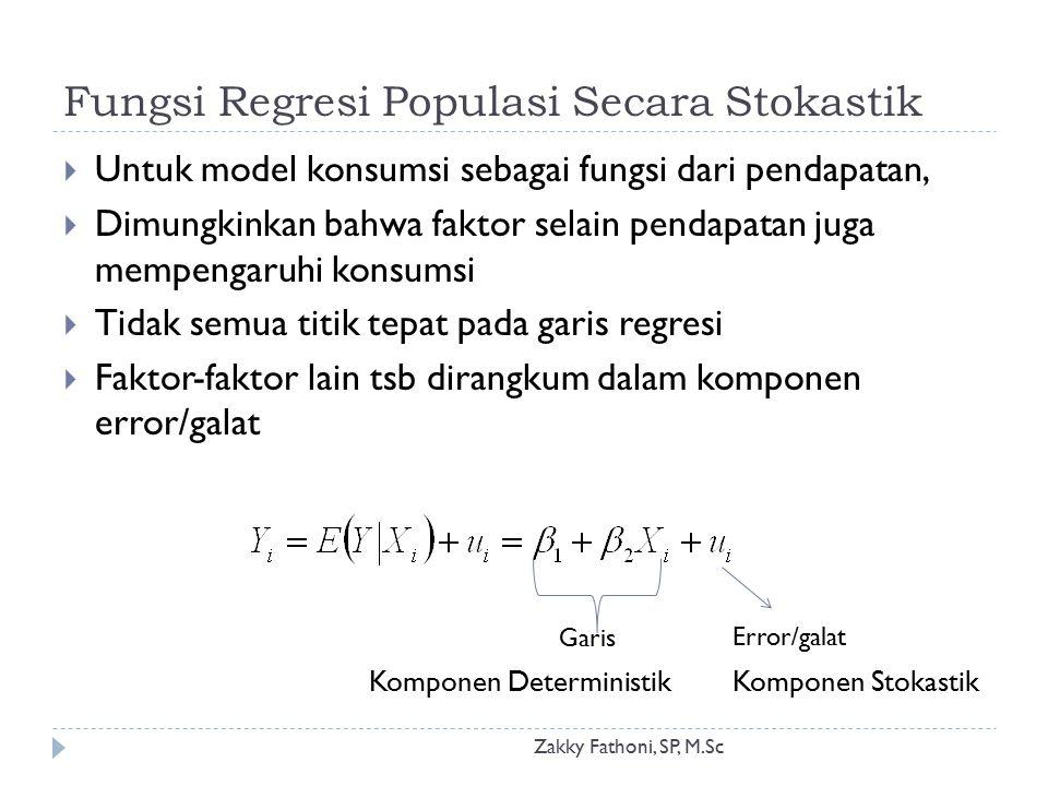 Fungsi Regresi Populasi Secara Stokastik Zakky Fathoni, SP, M.Sc  Untuk model konsumsi sebagai fungsi dari pendapatan,  Dimungkinkan bahwa faktor se