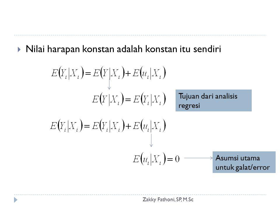 Zakky Fathoni, SP, M.Sc  Nilai harapan konstan adalah konstan itu sendiri Asumsi utama untuk galat/error Tujuan dari analisis regresi