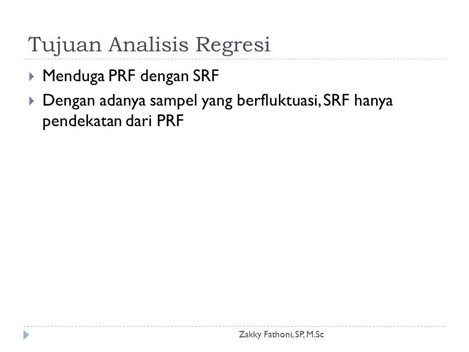 Tujuan Analisis Regresi Zakky Fathoni, SP, M.Sc  Menduga PRF dengan SRF  Dengan adanya sampel yang berfluktuasi, SRF hanya pendekatan dari PRF