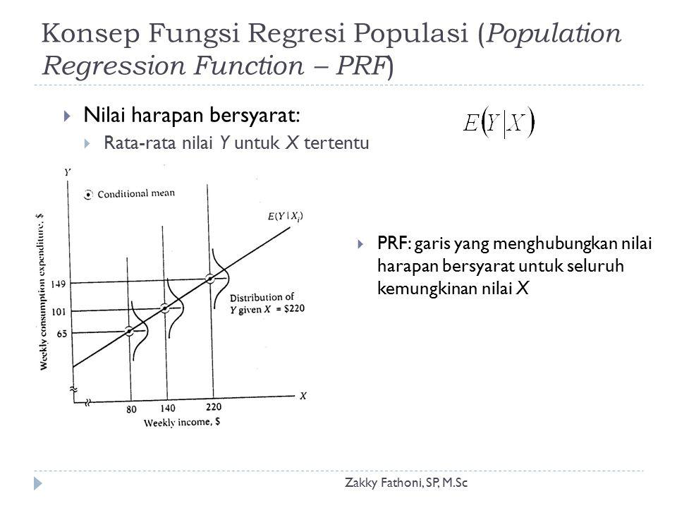 Konsep Fungsi Regresi Populasi ( Population Regression Function – PRF ) Zakky Fathoni, SP, M.Sc  Nilai harapan bersyarat:  Rata-rata nilai Y untuk X