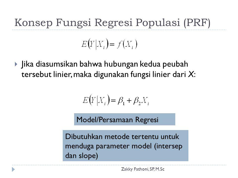 Konsep Fungsi Regresi Populasi (PRF) Zakky Fathoni, SP, M.Sc  Jika diasumsikan bahwa hubungan kedua peubah tersebut linier, maka digunakan fungsi lin