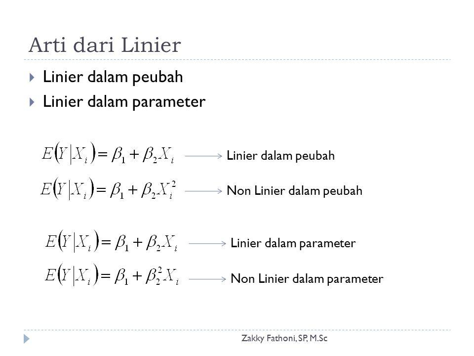 Arti dari Linier Zakky Fathoni, SP, M.Sc  Linier dalam peubah  Linier dalam parameter Linier dalam peubah Non Linier dalam peubah Linier dalam param
