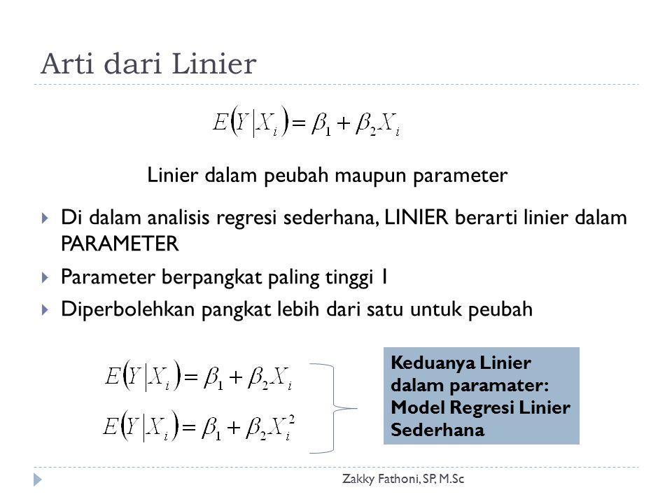 Arti dari Linier Zakky Fathoni, SP, M.Sc  Di dalam analisis regresi sederhana, LINIER berarti linier dalam PARAMETER  Parameter berpangkat paling ti