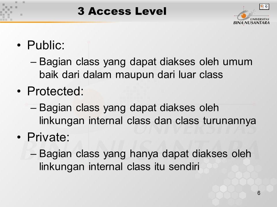 6 3 Access Level Public: –Bagian class yang dapat diakses oleh umum baik dari dalam maupun dari luar class Protected: –Bagian class yang dapat diakses oleh linkungan internal class dan class turunannya Private: –Bagian class yang hanya dapat diakses oleh linkungan internal class itu sendiri
