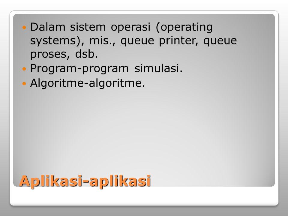 Aplikasi-aplikasi Dalam sistem operasi (operating systems), mis., queue printer, queue proses, dsb. Program-program simulasi. Algoritme-algoritme.