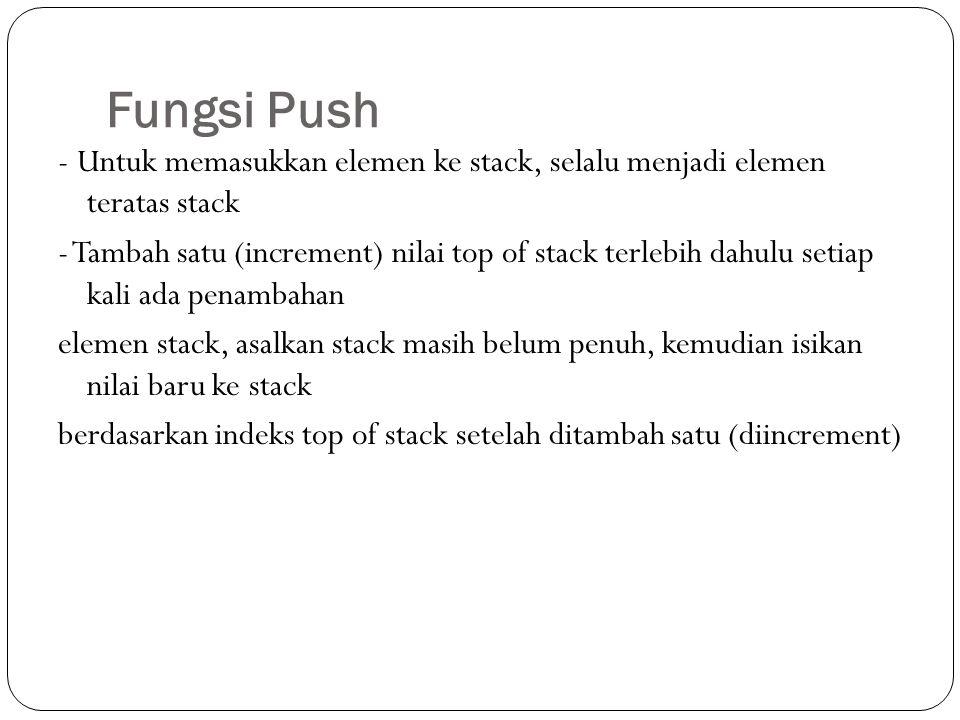 Fungsi Push - Untuk memasukkan elemen ke stack, selalu menjadi elemen teratas stack - Tambah satu (increment) nilai top of stack terlebih dahulu setia