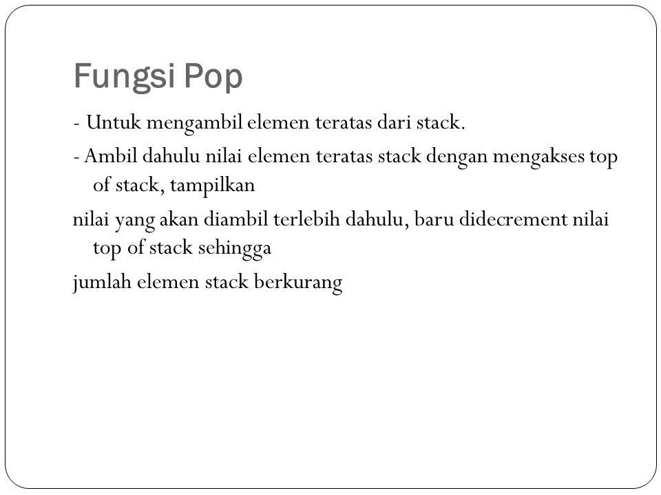 Fungsi Pop - Untuk mengambil elemen teratas dari stack. - Ambil dahulu nilai elemen teratas stack dengan mengakses top of stack, tampilkan nilai yang