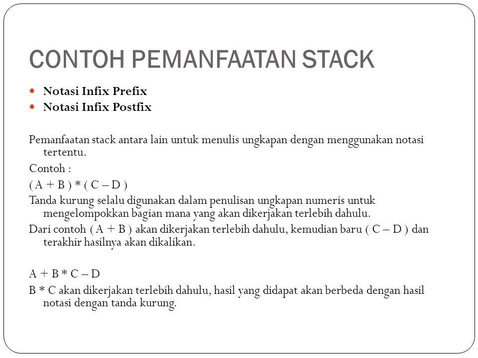 CONTOH PEMANFAATAN STACK Notasi Infix Prefix Notasi Infix Postfix Pemanfaatan stack antara lain untuk menulis ungkapan dengan menggunakan notasi terte