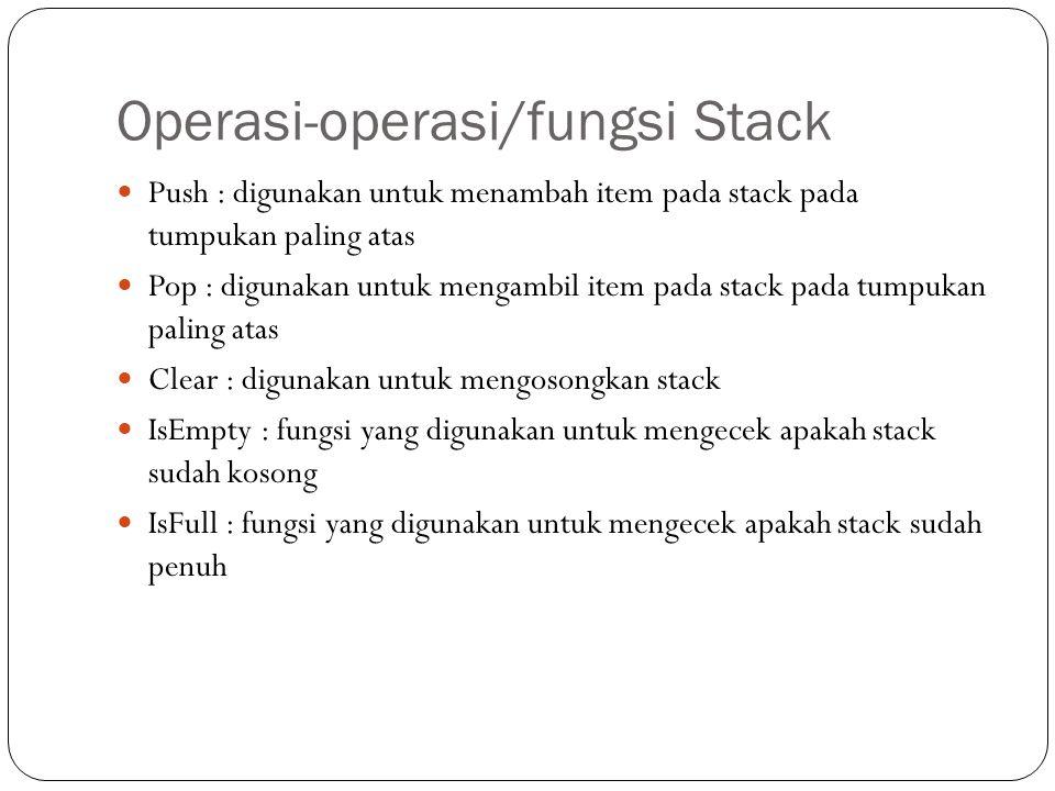 Operasi-operasi/fungsi Stack Push : digunakan untuk menambah item pada stack pada tumpukan paling atas Pop : digunakan untuk mengambil item pada stack