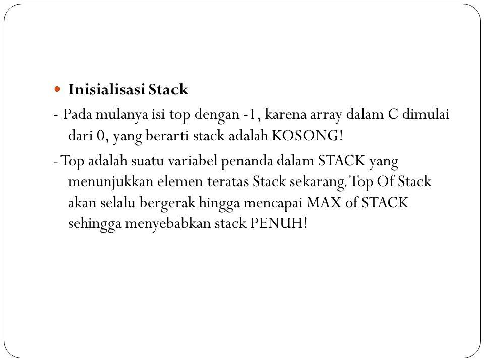 Inisialisasi Stack - Pada mulanya isi top dengan -1, karena array dalam C dimulai dari 0, yang berarti stack adalah KOSONG! - Top adalah suatu variabe